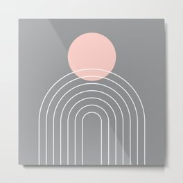 Mid Century Modern Geometric 76 in Ultimate Grey and Rose Gold (Sun and Rainbow abstraction) Metal Print