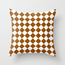 Diamonds - White and Brown Throw Pillow