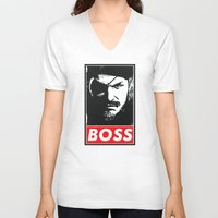 metal gear V-neck T-shirts featuring Big Boss - Metal Gear Solid by TxzDesign