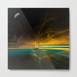 Moonlight magic, mixed media art Metal Print