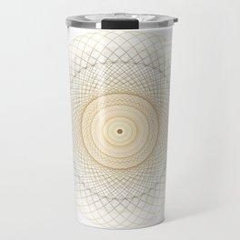 Golden geometry on white Travel Mug