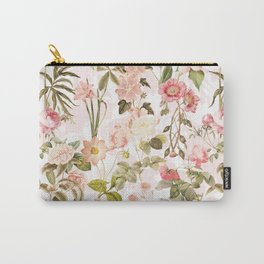 Vintage & Shabby Chic - Pink Sepia Summer Flowers Carry-All Pouch