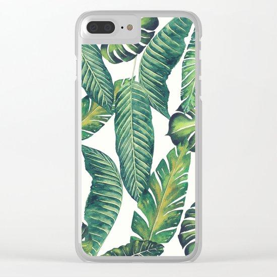 Jungle Leaves, Banana, Monstera II #society6 Clear iPhone Case