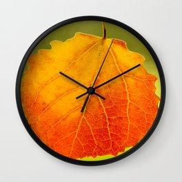 Orange Leaf Vivid Green Background #decor #society6 #buyart Wall Clock