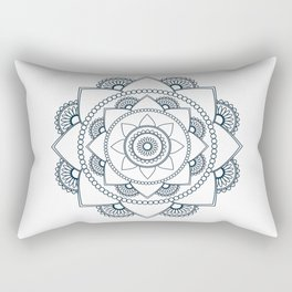 Mandala 01 - Navy Blue on White Rectangular Pillow