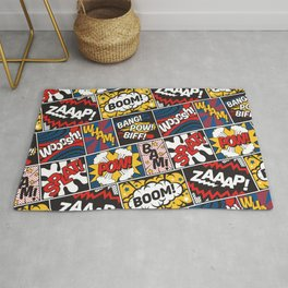 Modern Comic Book Superhero Pattern Color Colour Cartoon Lichtenstein Pop Art Rug