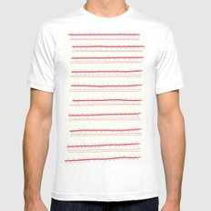 Stripes and Spots White Mens Fitted Tee MEDIUM