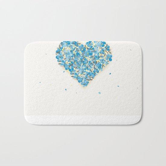 forget-me-nots heart Bath Mat