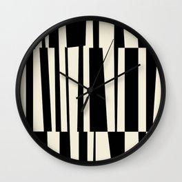 BW Oddities III - Black and White Mid Century Modern Geometric Abstract Wall Clock