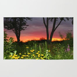 Sunset Over a Wildflower Field Rug