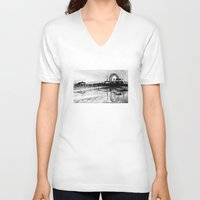 santa monica V-neck T-shirts featuring Los Angeles Santa Monica Pier by VICIT