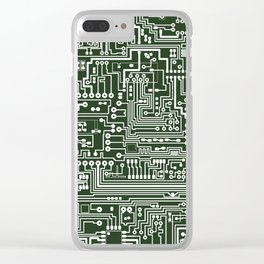 Circuit Board // Green & White Clear iPhone Case