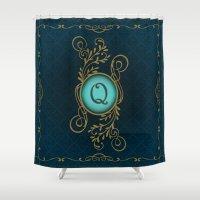 monogram Shower Curtains featuring Monogram Q by Britta Glodde