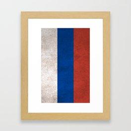 Russia Flag (Vintage / Distressed) Framed Art Print