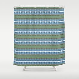Periwinkle, Moss Green and Pastel Indigo Neo Tribal Micro Pattern Shower Curtain