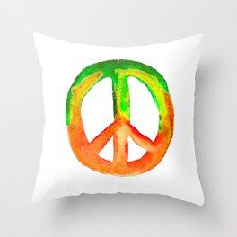 Watercolor Tie Dye Peace Sign Green Orange Yellow Throw Pillow