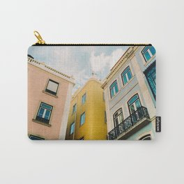 pastel pink, yellow and blue colored buildings against blue sky in Lisbon, Portugal | Photo Print, Travel Photography Carry-All Pouch