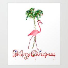 Merry Christmas Pink Flamingo Beach Xmas Art Print