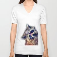 raccoon V-neck T-shirts featuring Raccoon  by jbjart