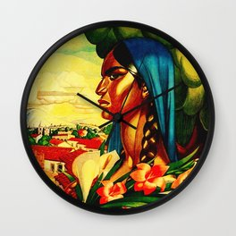 Vintage Mexico Travel - Woman with Flowers Wall Clock