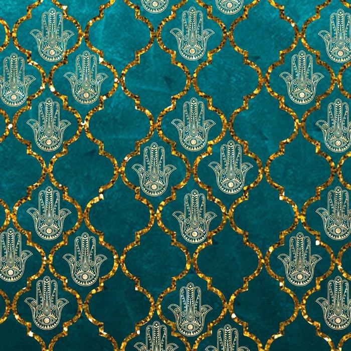Vintage green faux gold glitter quatrefoil Hamsa Leggings