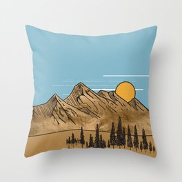 Minimalistic  Landscape with golden mountains Throw Pillow