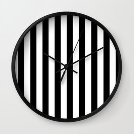 Narrow Vertical Stripes - White and Black Wall Clock
