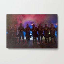 Riot Police Line - Red/Blue  Metal Print
