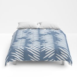 Leaves abstract in blue Comforters