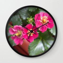 Purple strawberry flowers Wall Clock