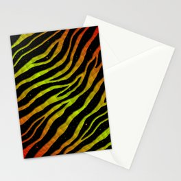 Ripped SpaceTime Stripes - Red/Lime Stationery Cards