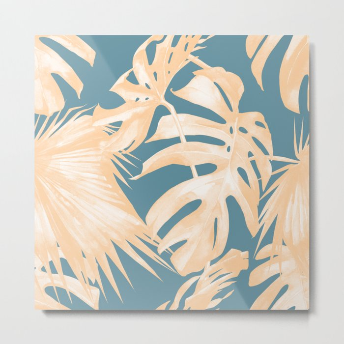 Island Vacation Hibiscus Palm Light Orange Teal Blue Metal Print