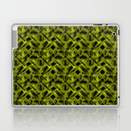 Stylish design with rotating circles and yellow rectangles from dark stripes. Laptop & iPad Skin