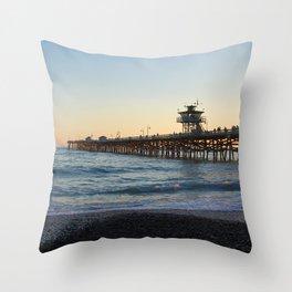 San Clemente Pier at sunset Throw Pillow