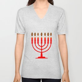 Menorh With Seven Candles Unisex V-Neck