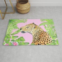 Leopard in Jungle, Transparent Background Rug