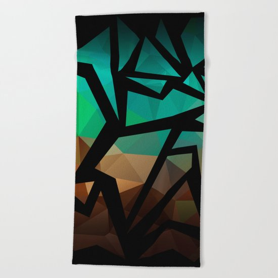 Abstract background of triangles polygon print. Bright dark design colors Beach Towel