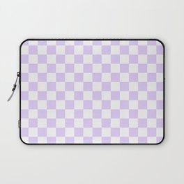 Large Chalky Pale Lilac Pastel Color and White Checkerboard Laptop Sleeve