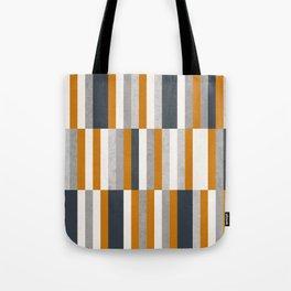 Mustard Navy Blue Grey Stripes, Abstract Retro Nautical Tote Bag