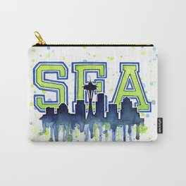 Seattle 12th Man Art Watercolor Space Needle Painting Carry-All Pouch