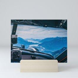 Seaplane over fjords and mountains Mini Art Print