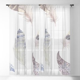 Trial feathers pattern Sheer Curtain