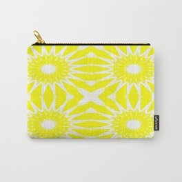 Yellow & White Pinwheel Flowers Carry-All Pouch