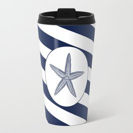 Nautical Starfish Navy Blue & White Stripes Beach Travel Mug