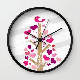 bird & heart tree Wall Clock