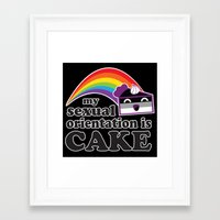 asexual Framed Art Prints featuring My Sexual Orientation Is Cake Asexual Pride by TheRandom