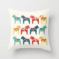 swedish Throw Pillows featuring Swedish Horses by Running River Design