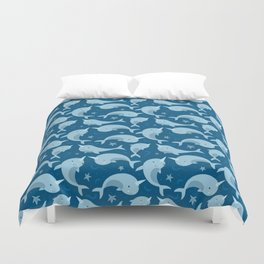 Blue Narwhals Sealife Duvet Cover