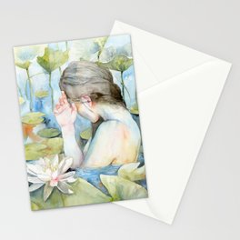 Let me go, White Water Lily Girl Stationery Cards