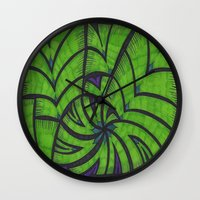 lime green Wall Clocks featuring Lime Green Flock by Sarah J Bierman